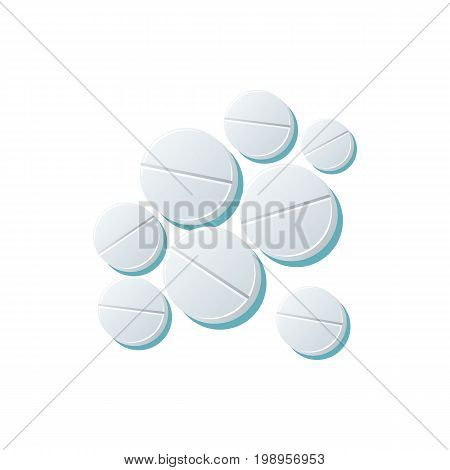 Vector pills set flat cartoon illustration isolated on a white background. Cold and flu treatment concept, medicine and drugs. Cartoon illness therapy tools
