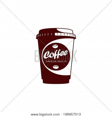 Vector Disposable papper cup of Coffee .coffee concept flat icon. line icon illustration isolated on a white background.