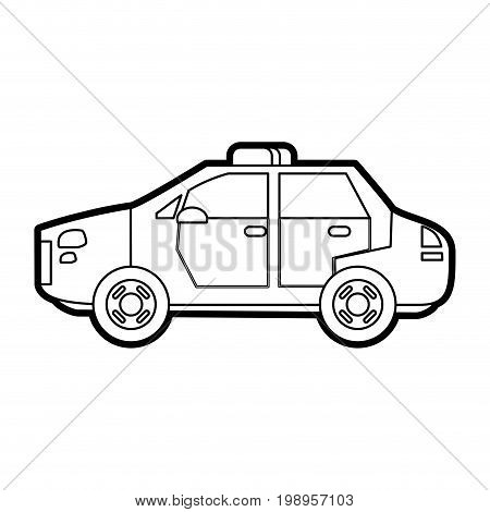 Flat line uncolored police car over white background vector illustration