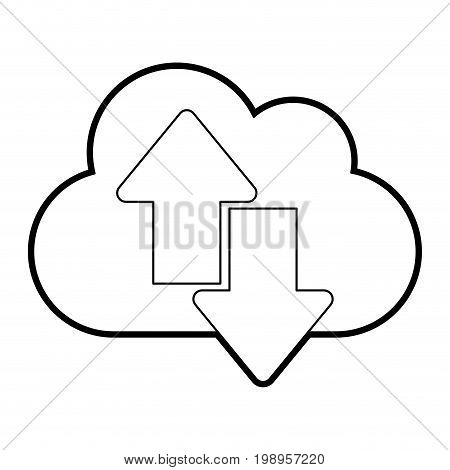 Flat line uncolored cloud and arrows over white background vector illustration