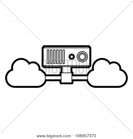 Flat line uncolored cloud server over white background vector illustration
