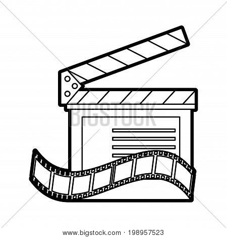 Flat line uncolored clapperboard and film strip over white background vector illustration