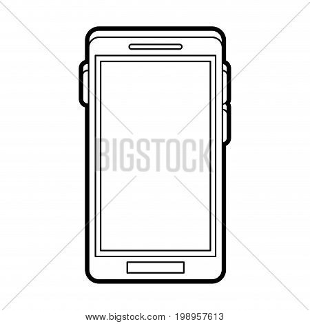Flat line smartphone uncolored over white background vector illustration
