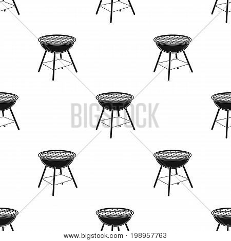 Barbecue grill icon in black design isolated on white background. Picnic symbol stock vector illustration.