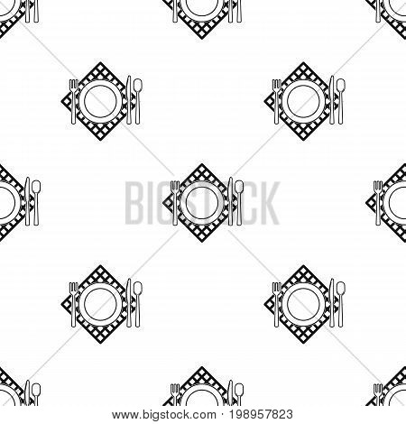Picnic served table icon in black design isolated on white background. Picnic symbol stock vector illustration.