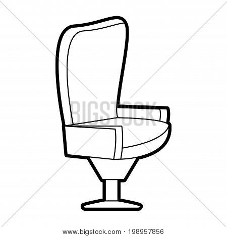 Flat line uncolored seat over white background vector illustration