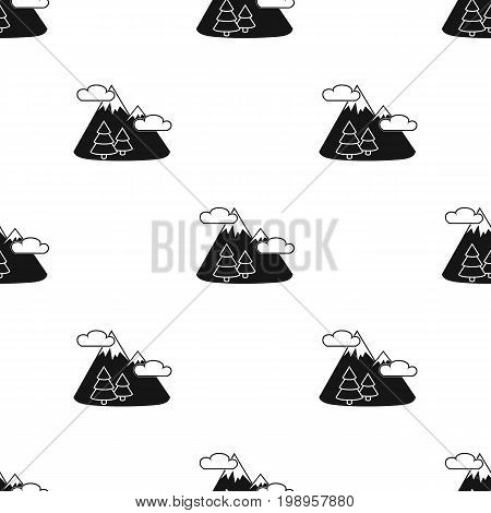 Mountains landscape icon in black design isolated on white background. Picnic symbol stock vector illustration.