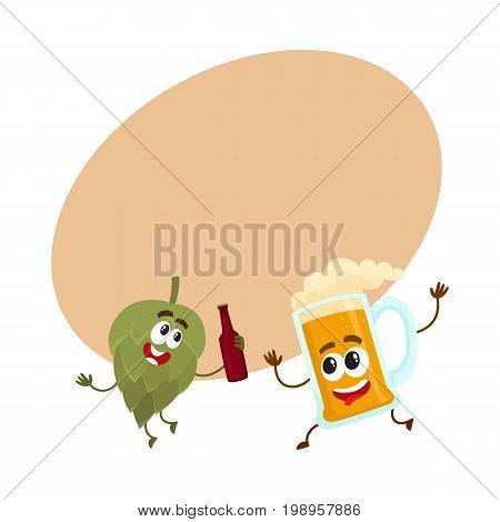 Funny beer glass and hop characters having fun, drinking, celebrating together, cartoon vector illustration with space for text. Funny beer glass and hop characters with smiling human faces