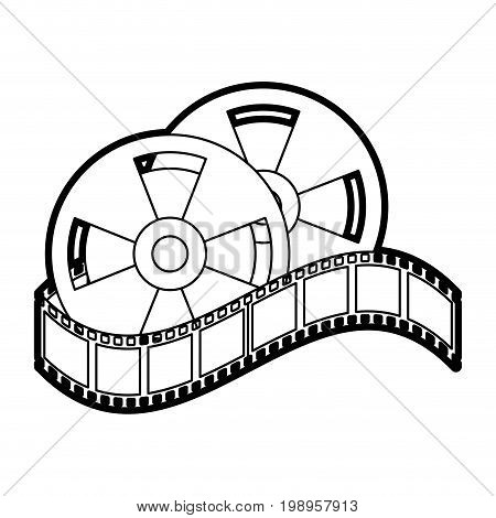 Flat line uncolored film roll and strip over white background vector illustration