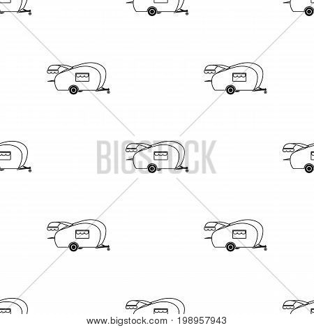 Caravan icon in black design isolated on white background. Picnic symbol stock vector illustration.