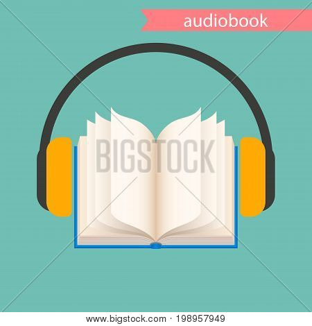 the audiobook on a green background, icon. vector illustration.