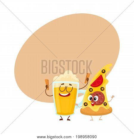 Funny beer mug and yummy pizza slice characters having fun, cartoon vector illustration with space for text. Funny smiling beer mug and pizza, fast food restaurant, good company