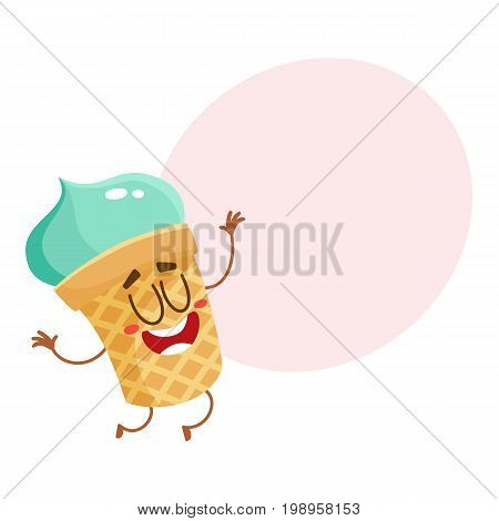 Funny smiling pistachio ice cream character in wafer cup, cartoon style vector illustration with space for text. Cute smiley pistachio ice cream cup character with eyes and legs