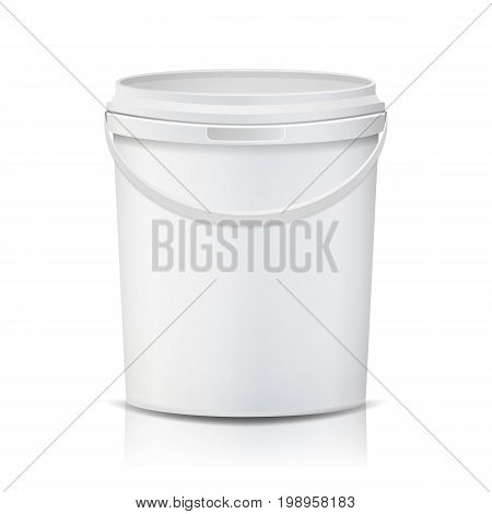 White Bucket Vector. Blank Plastic Tub Bucket. Container For Ice Cream Or Dessert. Isolated Illustration