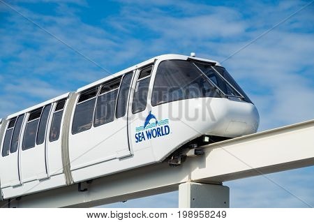 Gold Coast, Australia - July 11, 2017: monorail train that runs through the Sea World theme park on the Gold Coast.