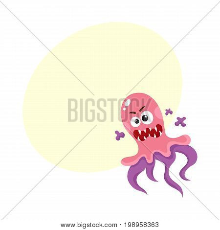 Virus, germ, bacteria, pathogen character with human face and tentacles, cartoon vector illustration with space for text. Scary bacteria, virus, germ monster with human face, tentacles, sharp teeth