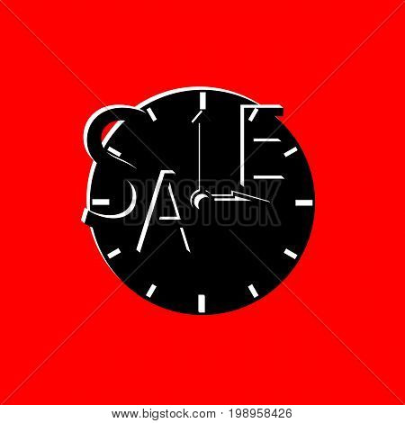 Sale inscription with black clocks. Sales event square vector illustration. Sale tag on red background. Black Friday advertisement. Seasonal discount icon or banner template. Black and red sale label