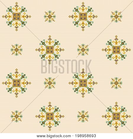 Ethnic design seamless pattern with traditional tribal motifs, crooked lines, triangles, squares, circles. Mayan fabric, geometric decorative navajo print, american indian pattern, ethnical symbols.
