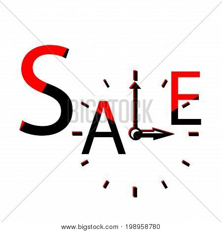 Sale with clocks retro label. Sales event square vector illustration. Discount or sales typographic design. Black Friday advertisement. Seasonal discount banner template. Sale sign on white background