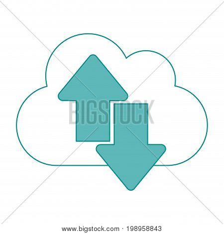 Flat line cloud and arrows with hint of color over white background vector illustration