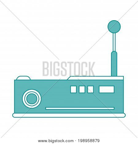 Flat line projector with hint of color over white background vector illustration