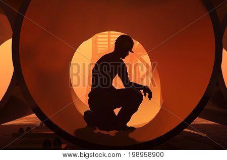 A silhouette of a worker-welder.,3d render