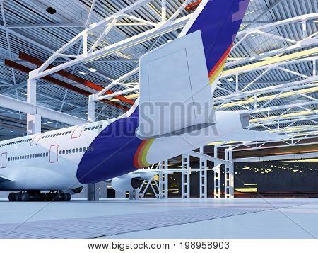 Passenger plane in the hangar. ,3d render