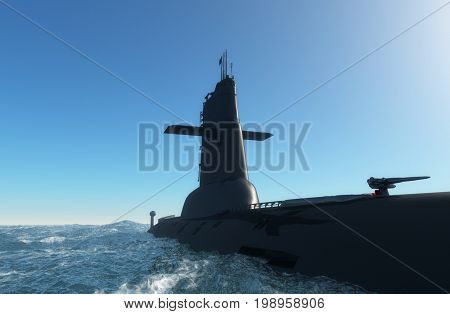 The military ship in the sea  .3d render