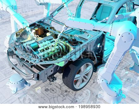Robots group collected modern car ,3d render