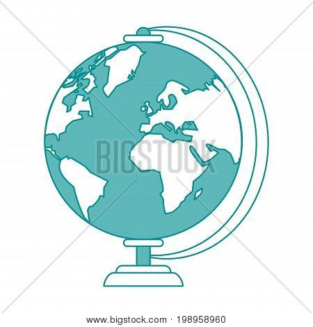 Flat line globe with hint of color over white background vector illustration