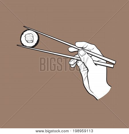 Hand holding Japanese, Chinese, Asian sushi, roll with pair of wooden chopsticks, sketch vector illustration isolated on brown background. Human hand with chopsticks and sushi, roll with salmon