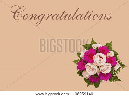 Romantic floral Congratulations card with flower bouquet beautiful pink roses and pink background and text copy spac