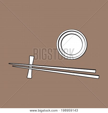Bamboo Asian, Chinese, Japanese chopsticks lying on soy sauce bowl, sketch vector illustration isolated on brown background. Traditional Chinese, Japanese, Thai cuisine - chopsticks and soy sauce