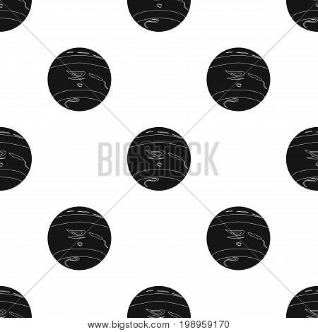 Neptune icon in black design isolated on white background. Planets symbol stock vector illustration.