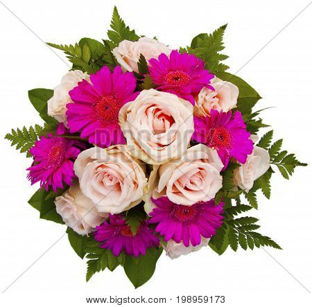 Romantic floral flower bouquet with beautiful pink roses isolated on white