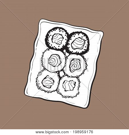 Plate of Japanese sushi set, top view hand drawing, sketch style vector illustration isolated on brown background. Sushi serving plate, Asian, Chinese, Japanese cuisine