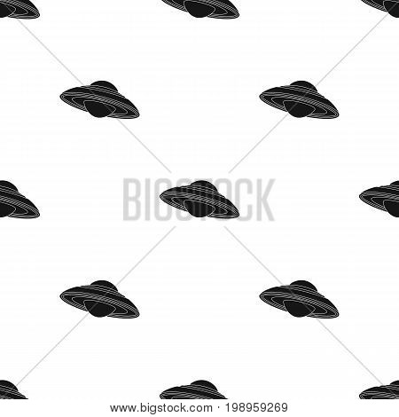 UFO icon in black design isolated on white background. Planets symbol stock vector illustration.