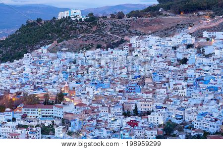 Chefchaouen Medina in Morocco Africa. Chefchaouen or Chaouen is a city in northwest Morocco. It is the Chief town of the province of the same name and is noted for its buildings in shades of blue.
