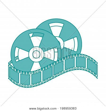 Flat line film and film strip with hint of color over white background vector illustration