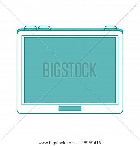 Flat line tablet with hint of color over white background vector illustration