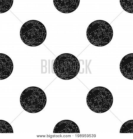 Moon icon in black design isolated on white background. Planets symbol stock vector illustration.
