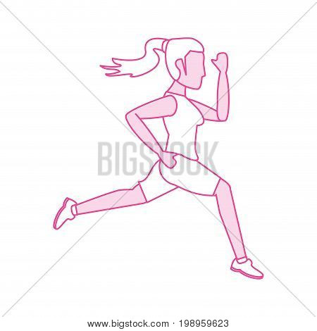 Flat line woman avatar with hint of color over white background vector illustration