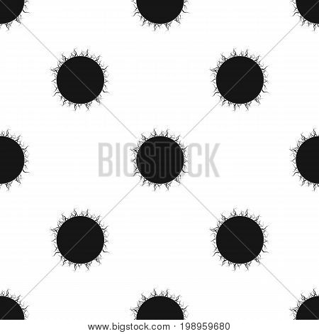 Sun icon in black design isolated on white background. Planets symbol stock vector illustration.