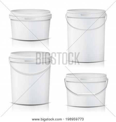 3D Bucket Set Vector. Realistic. Mock Up Plastic Container. Illustration