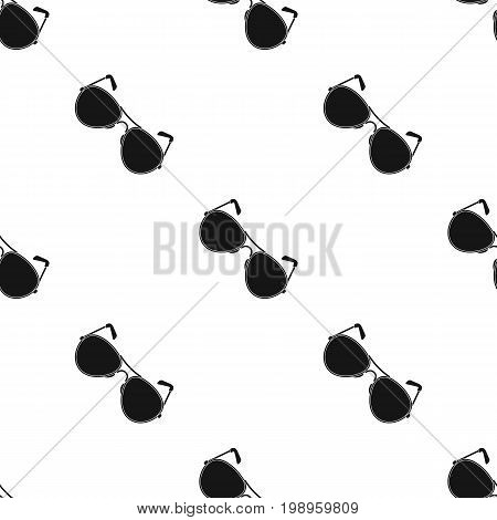 Aviator sunglasses icon in black design isolated on white background. Police symbol stock vector illustration.