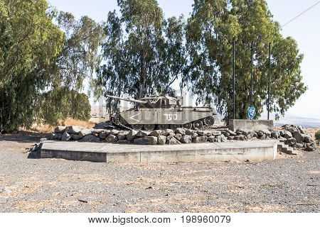 Golan Heights near to Qatsrin city Israel July 29 2017 : Monument to the Israeli tank is after the Doomsday (Yom Kippur War) on the Golan Heights in Israel near the border with Syria