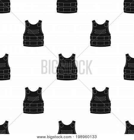 Bulletproof vest icon in black design isolated on white background. Police symbol stock vector illustration.