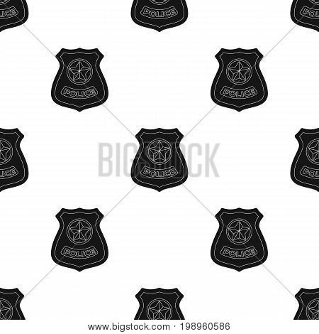 Police badge icon in black design isolated on white background. Police symbol stock vector illustration.