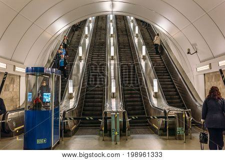 Saint Petersburg, RUSSIA - May 30, 2017: Metro in St. Petersburg, the entrance to the escalator