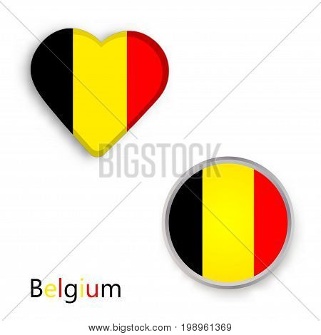 Heart and circle symbols with Belgium flag. Vector illustration